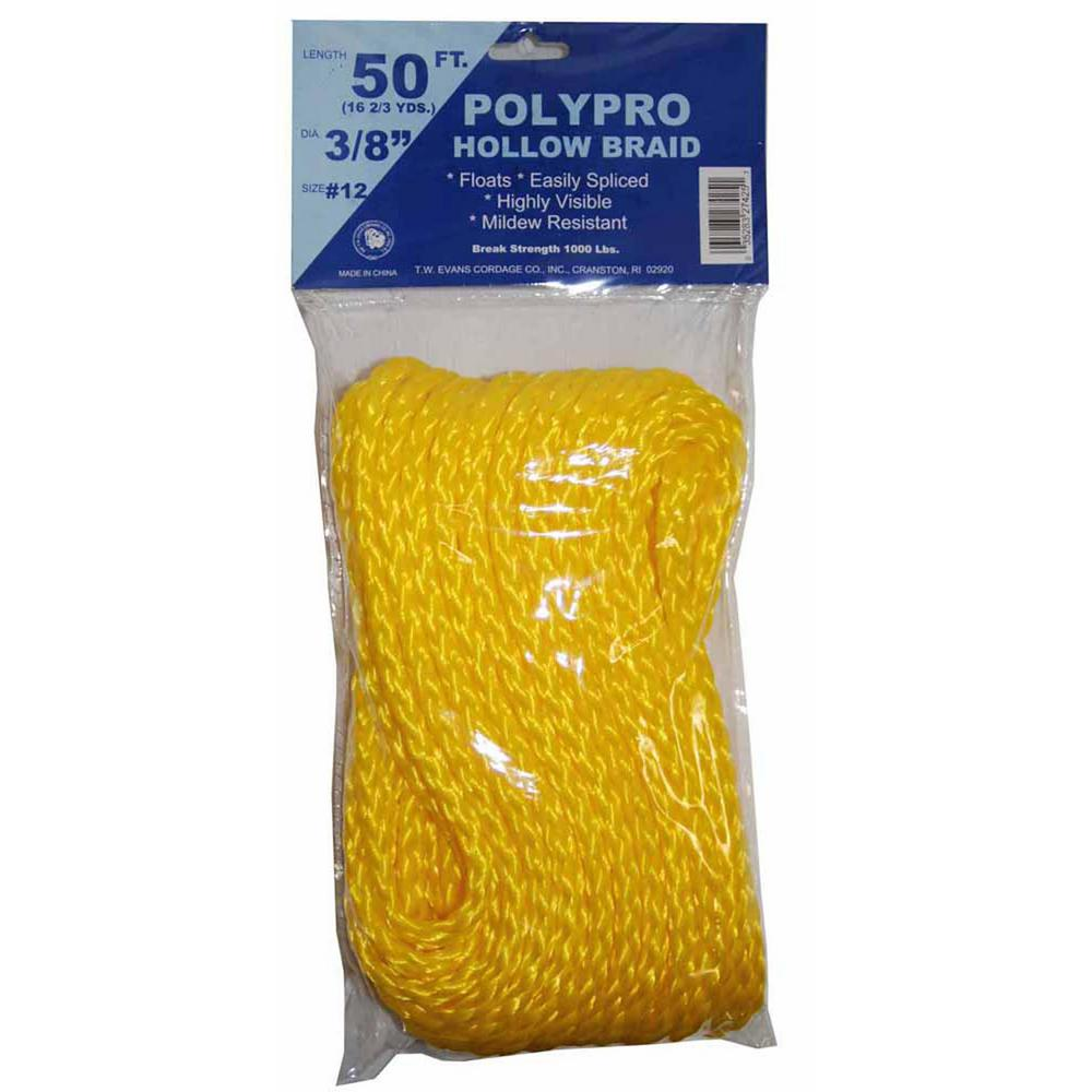Yellow T.W Evans Cordage 27-425 3//8-Inch by 50-Feet Hollow Braid Polypro Rope