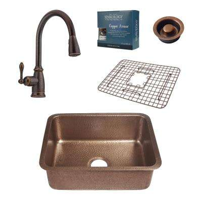 Pfister All-In-One Undermount Renoir 23 in. Copper Kitchen Sink Kit with Rustic Bronze Faucet and Disposal Drain