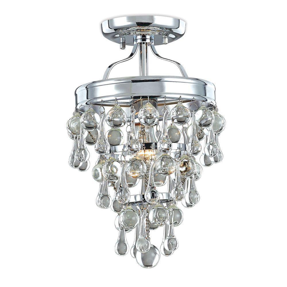 Milton 1-Light Chrome Crystal Semi Flush Mount