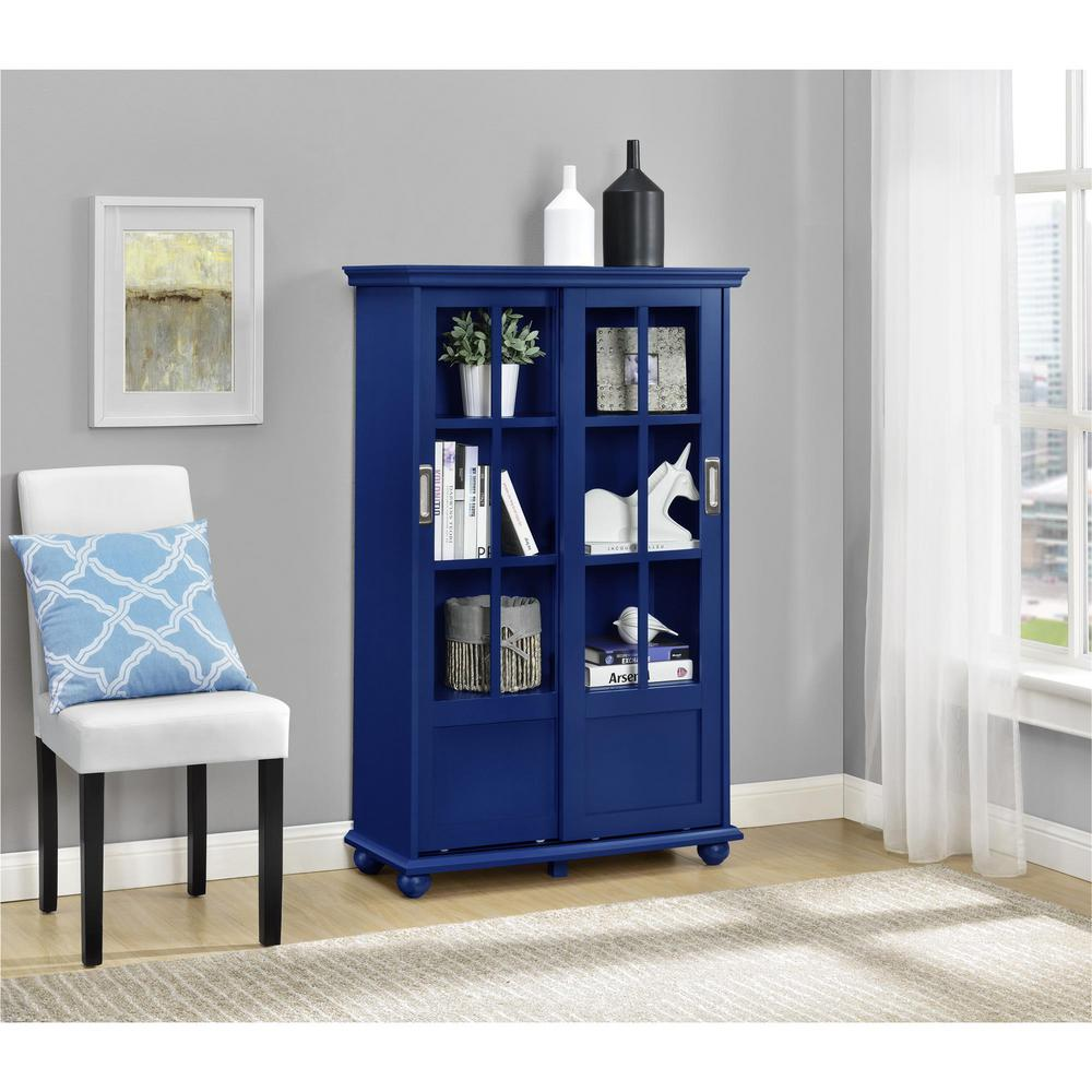 Ameriwood Home Abel Place Soft Gray Bookcase With Sliding Glass