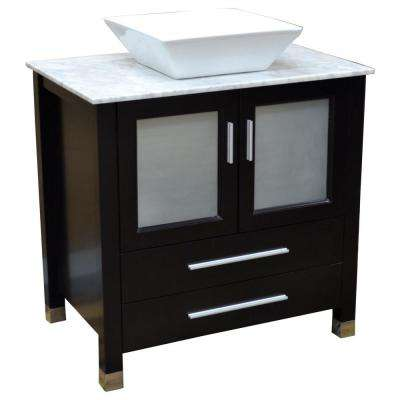 Tanya 32 in. Vanity in Espresso with Marble Vanity Top in White Carrara and Mirror
