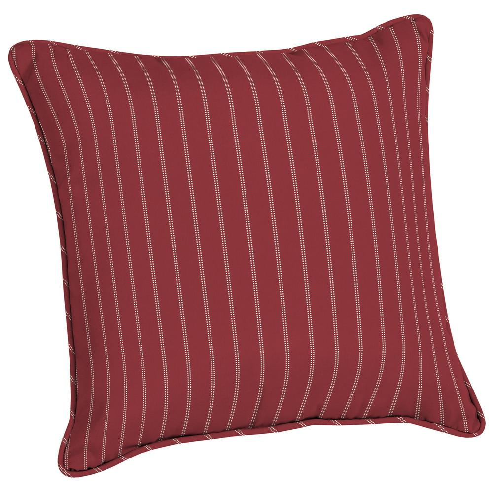 Acrylic 20 in. Red Ticking Stripe Outdoor Throw Pillow