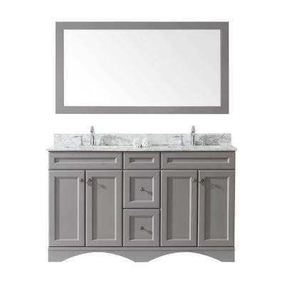 Talisa 60 in. W Bath Vanity in Gray with Marble Vanity Top in White with Square Basin and Mirror and Faucet