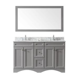 Virtu USA Talisa 60 inch W x 22 inch D Vanity in Gray with Marble Vanity Top in White with Square White Basin and Chrome... by Virtu USA