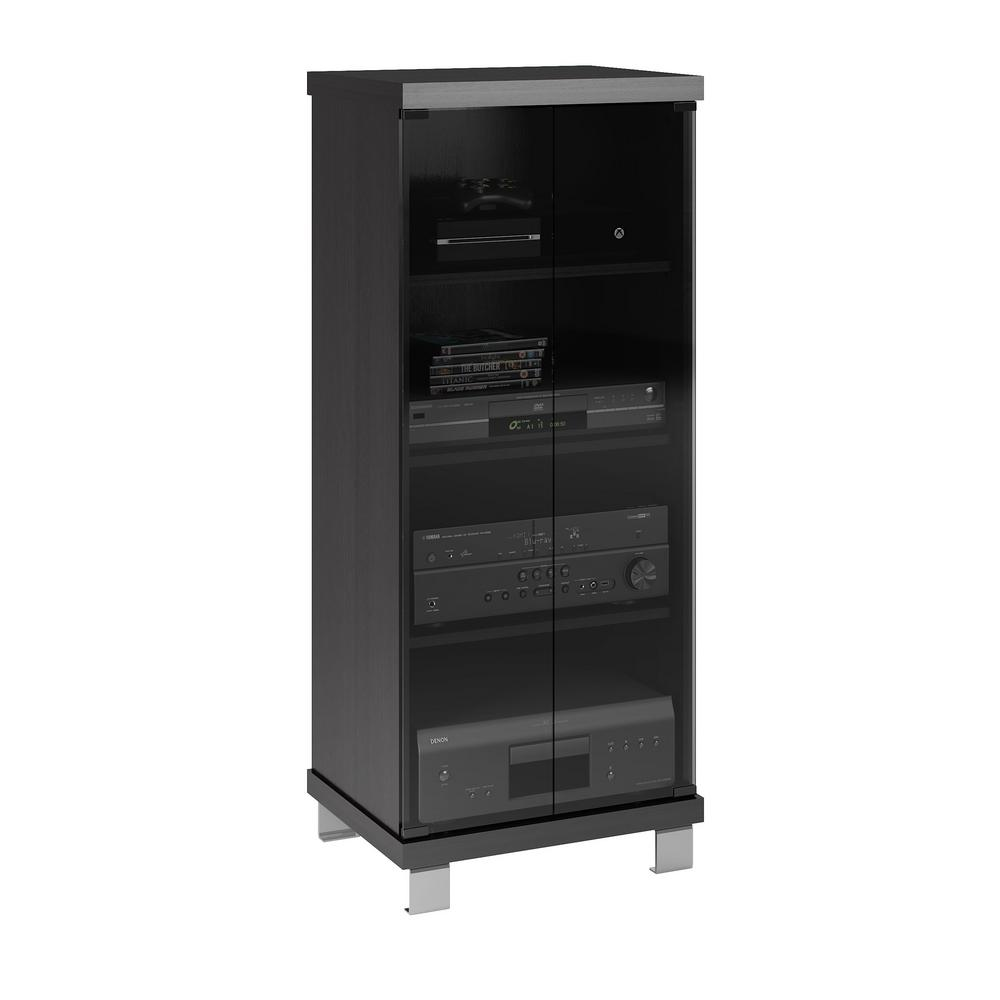 Holland 20 in. Wide Ravenwood Black and Glass Component Stand