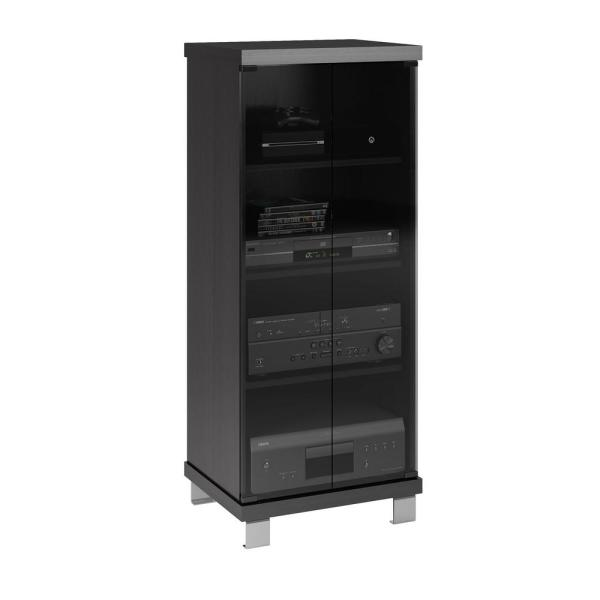 CorLiving Holland 20 in. Wide Ravenwood Black and Glass Component Stand