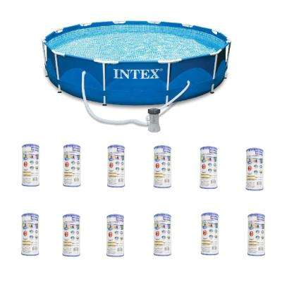Round Metal Frame Pools Above Ground Pools The Home Depot