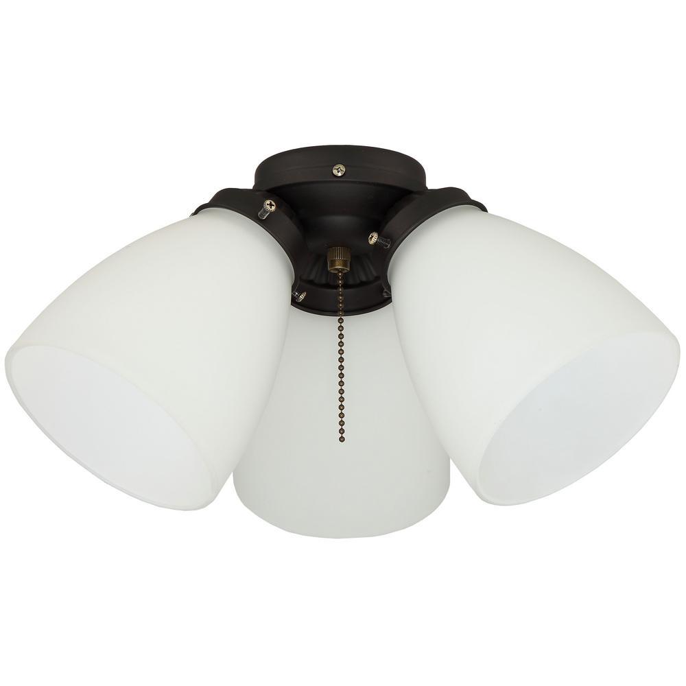 3-Light Oil Rubbed Bronze Ceiling Fan Shades LED Light Kit