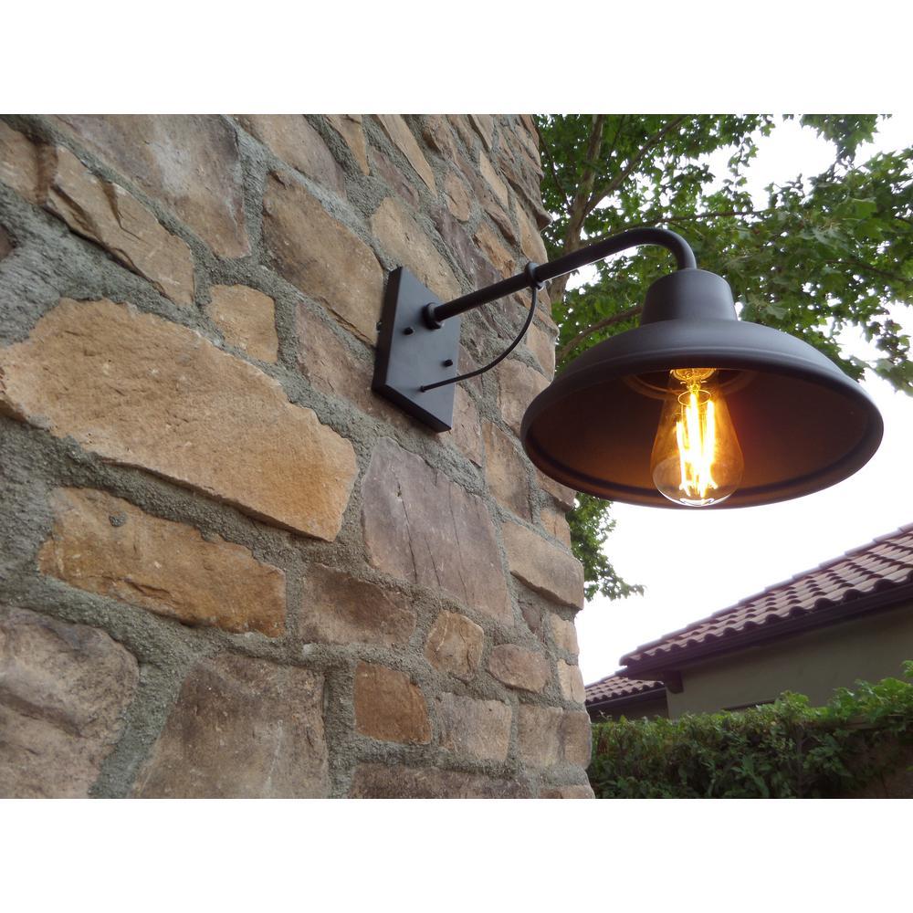Tanner 1-Light Black Outdoor Wall Mount Barn Light Sconce