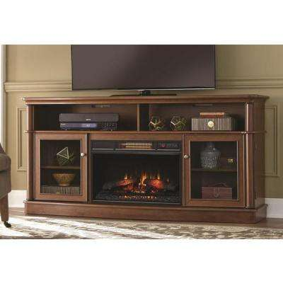 Tolleson 68 in. Media Console Infrared Bow Front Electric Fireplace in Mocha