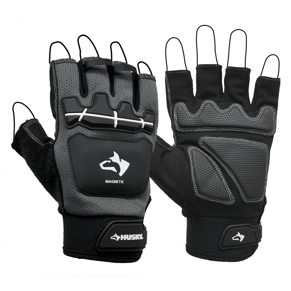 Large Pro Fingerless Magnetic Mechanics Glove, Black