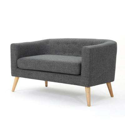 2-Seat Gray Button Back Fabric Loveseat