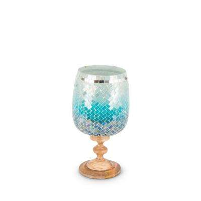 Blue Hombre Hurricane Glass Candle Holder