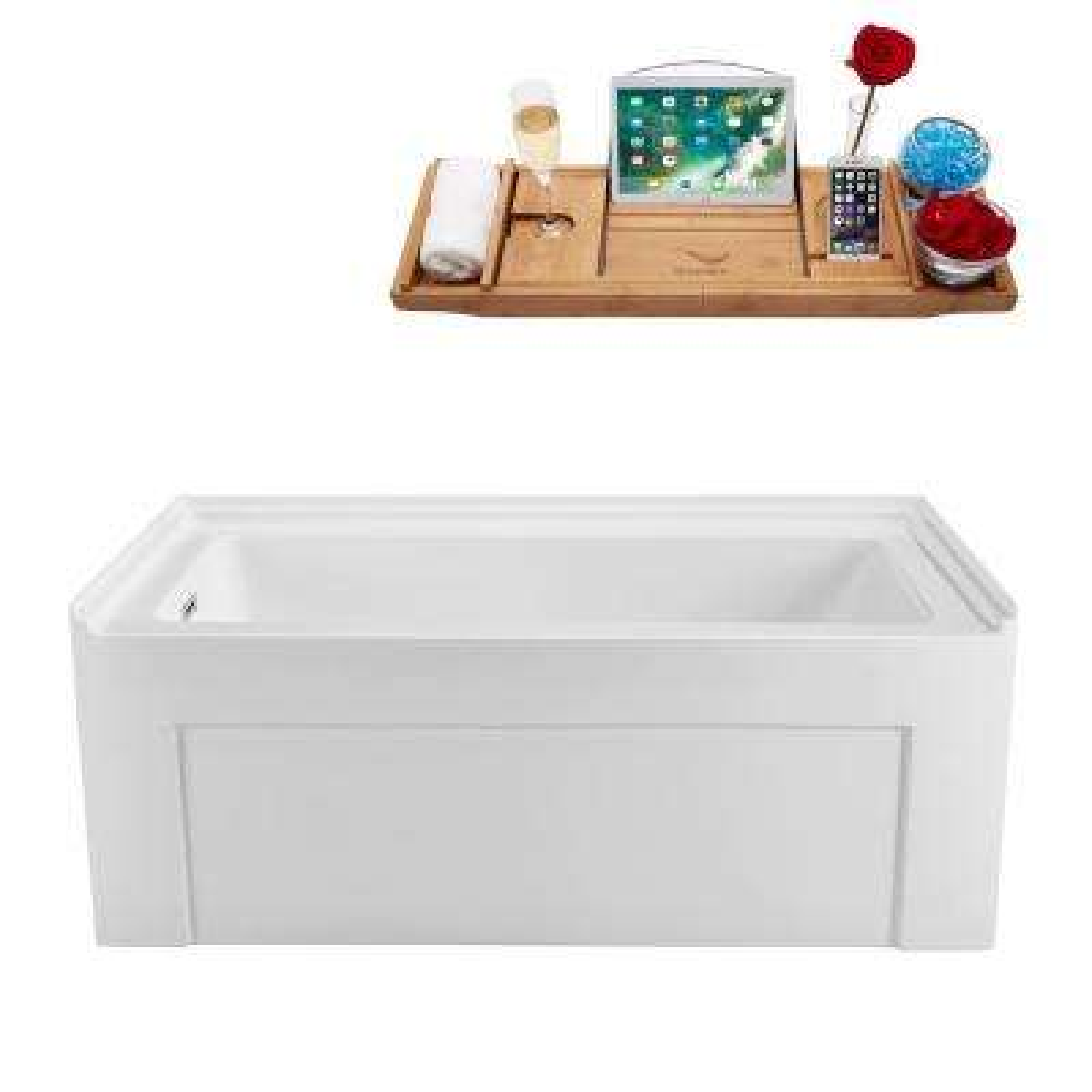 60 in. Acrylic Left Hand Drain Rectangle Alcove Non-Whirlpool Bathtub in White