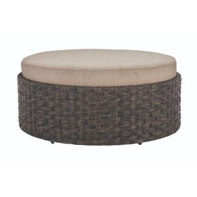 Sunset Point Brown Outdoor Patio Ottoman with Sand Cushion