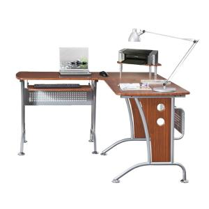 67 in. L-Shaped Mahogany/Silver Computer Desk with Keyboard Tray
