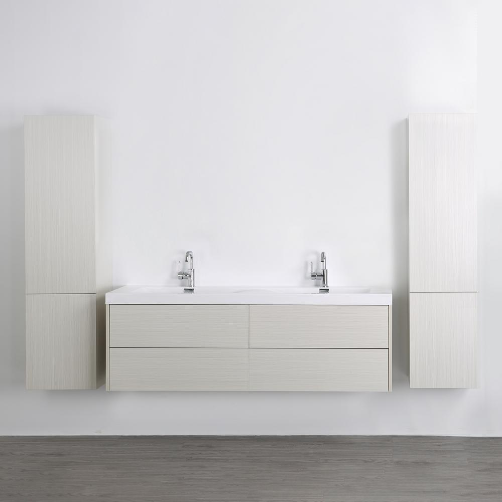 Streamline 63 in. W x 19.4 in. H Bath Vanity in Gray with Resin Vanity Top in White with White Basin