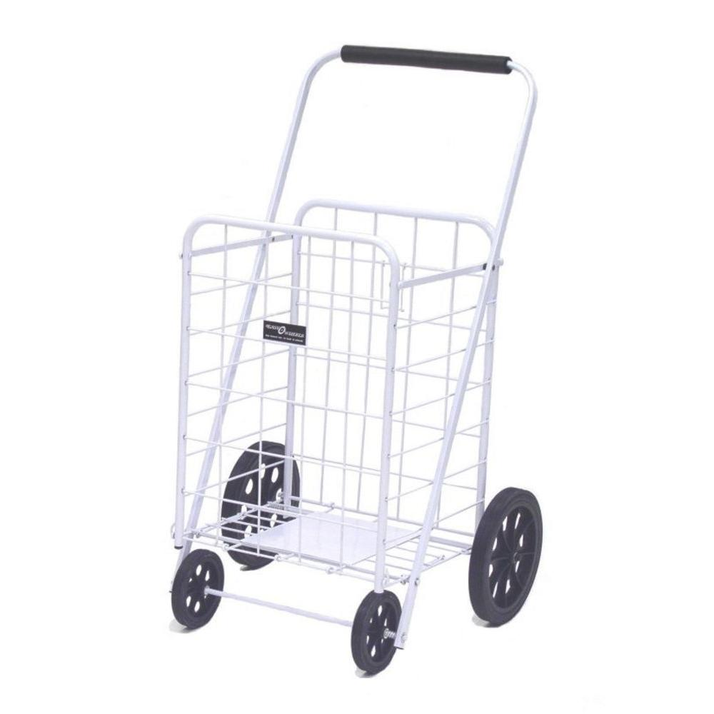 Easy Wheels Super Shopping Cart in White The Easy Wheels Super Shopping Cart has been the industry's premier cart with industrial strength for home use. When laying down, with the cart folded, the highest measurement are the wheels with a 9.75 in. Dia giving an incredible amount of convenience in a compact size. It comes equipped with an extra plate at the bottom of the basket for improved durability and longevity. Color: White.