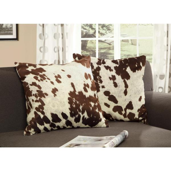 Brown and White Animal Print Cowhide Polyester 18 in. x 18 in. Throw Pillow (Set of 2)