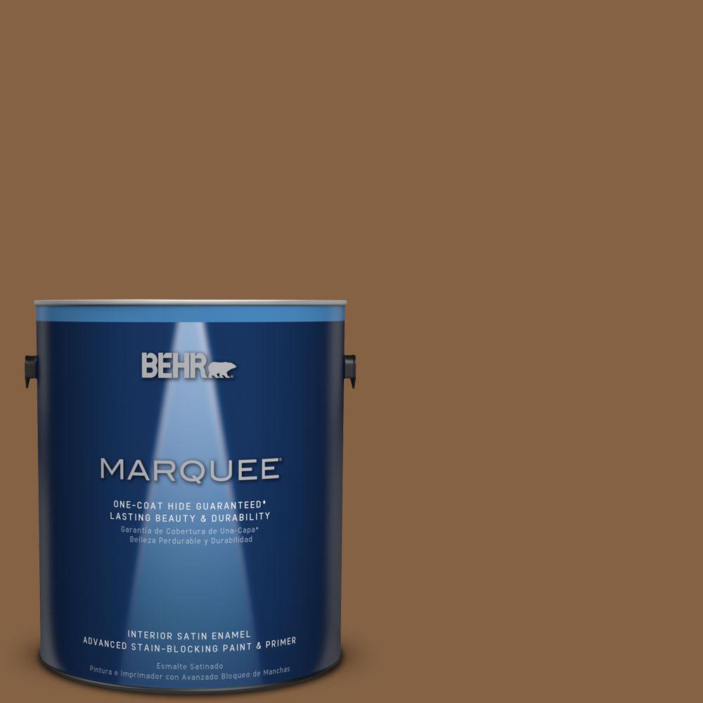 1 gal. #MQ2-10 Burnt Caramel One-Coat Hide Satin Enamel Interior Paint