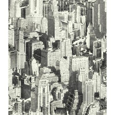 28.18 sq. ft. Black New York City Peel and Stick Wallpaper
