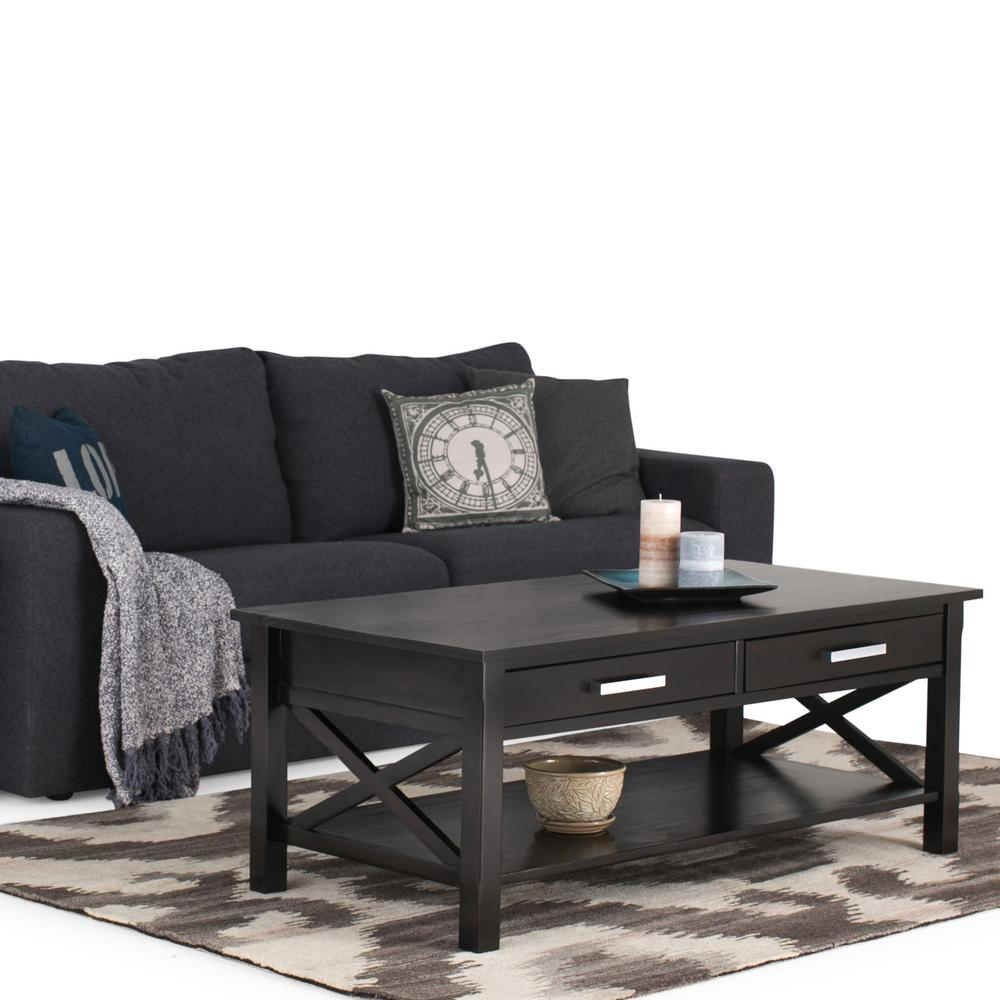Simpli Home Kitchener Dark Walnut Built In Storage Coffee Table 3AXCRGL001    The Home Depot