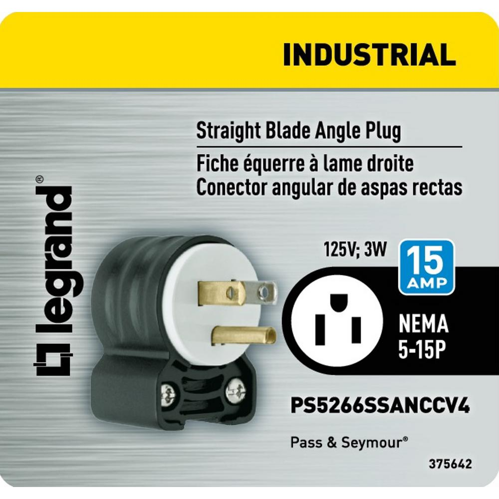 Legrand Pass Seymour Extra Hard Use 15 Amp 125 Volt Nema 5 15p Angled Straight Blade Plug Ps5266ssanccv4 The Home Depot