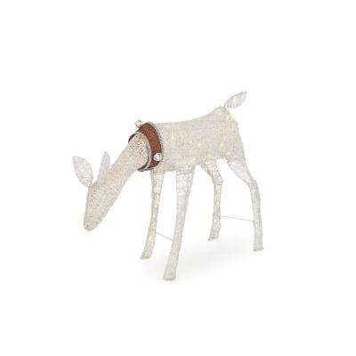33 in. Warm White LED White PVC Grazing Doe with Collar