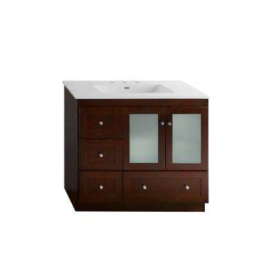 Shaker 36 in. W Vanity in Dark Cherry with Vitreous China Vanity Top in White with White Basin