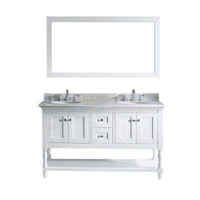 Julianna 60 in. W Bath Vanity in White with Marble Vanity Top in White with Round Basin and Mirror