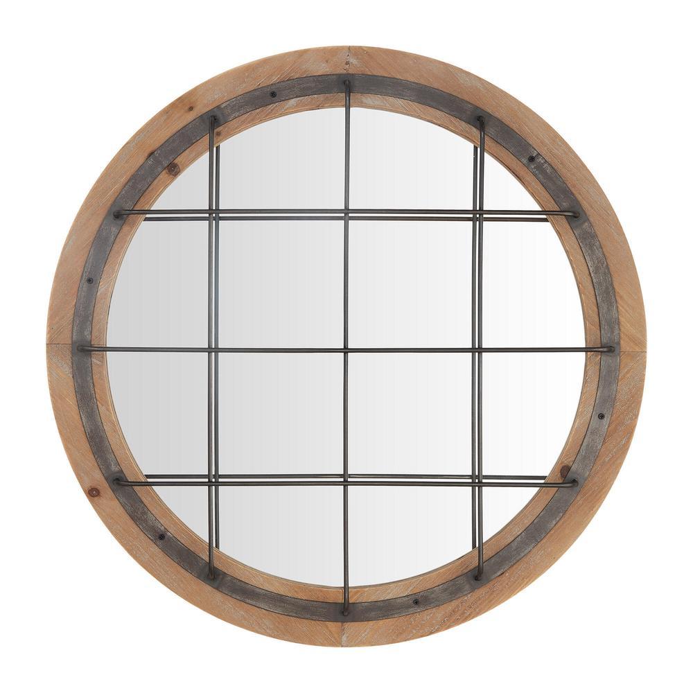 Medium Round Antiqued Natural Wood & Black Metal Accent Mirror (32 in. Diameter)