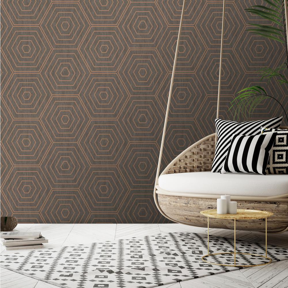 Aztec Copper Foil Hexagons Wallpaper