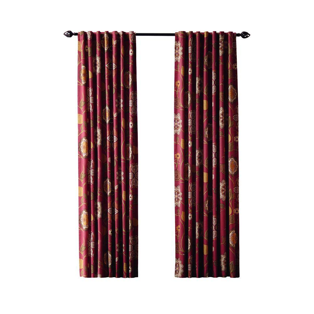 Home Decorators Collection Terracotta Floral Cottage Back Tab Curtain (Price Varies by Size)