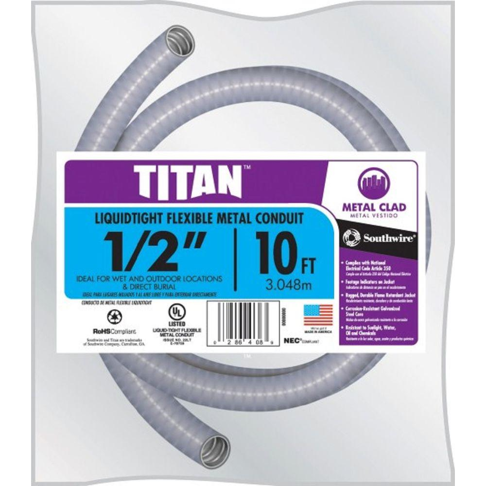 1/2 in. x 10 ft. Liquidtight Flexible Metallic Titan Steel Conduit