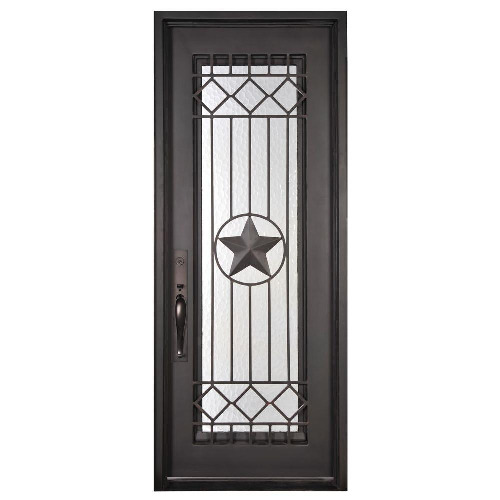Iron Doors Unlimited 37.5 In. X 81.5 In. Texas Star Classic Full Lite  Painted Oil Rubbed Bronze Wrought Iron Prehung Front Door WS3781RSLW   The  Home Depot
