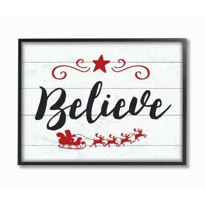 "16 in. x 20 in. ""Holiday Believe Elegant Typography with Red Sleigh"" by Artist Lettered and Lined Framed Wall Art"