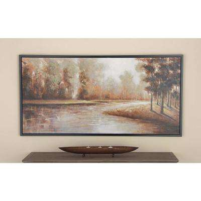 59 in. x 30 in. Forest Lake View Painting in Multi-color Framed Canvas Wall Art