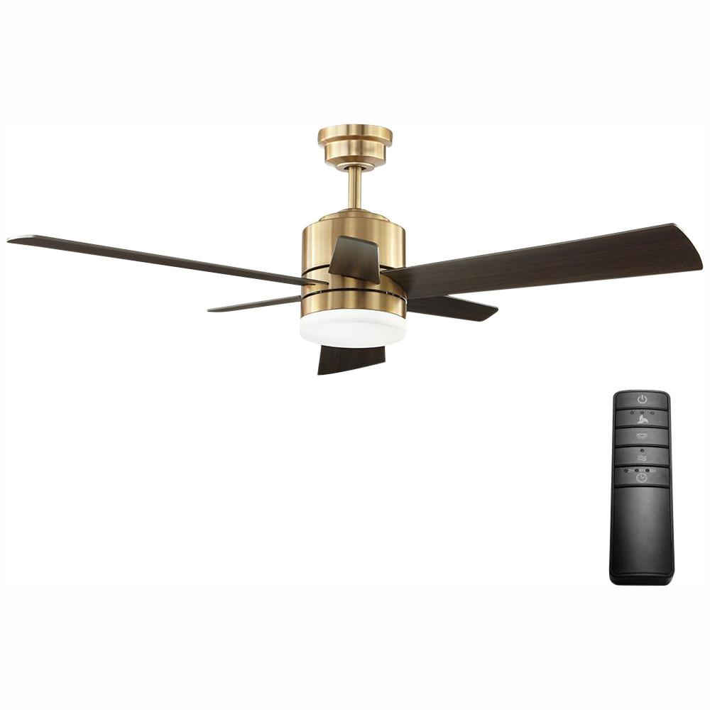 Home Decorators Collection Hexton 52 in. LED Indoor Brushed Gold Ceiling Fan with Light Kit and Remote Control