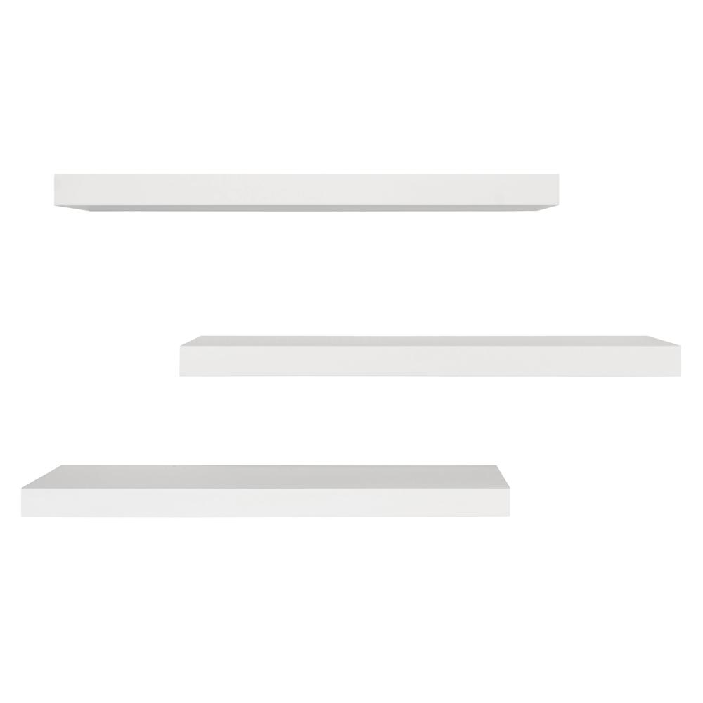 kiera grace maine 24 in w x 4 in d white floating shelf pack of 3 fn00294 5mc the home depot. Black Bedroom Furniture Sets. Home Design Ideas