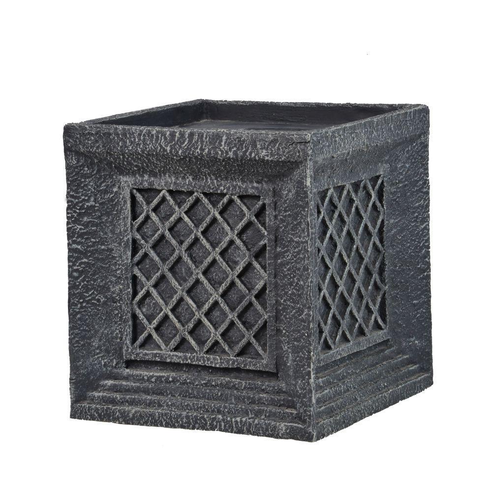 Laura Ashley 14 In Tall Lattice Cube Fiber Stone Planter Vhx215