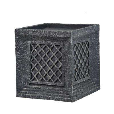 14 in. Tall Lattice Cube Fiber-Stone Planter