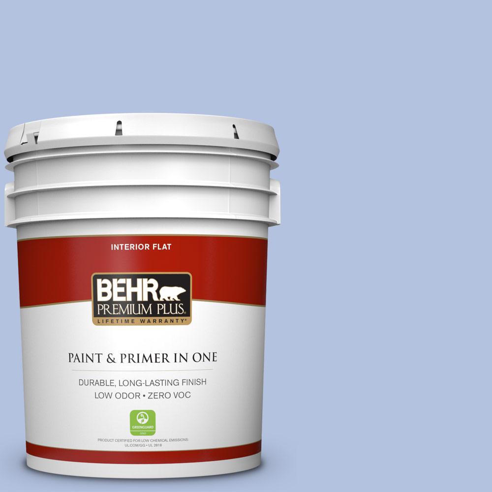 BEHR Premium Plus 5-gal. #600C-3 Periwinkle Bud Zero VOC Flat Interior Paint