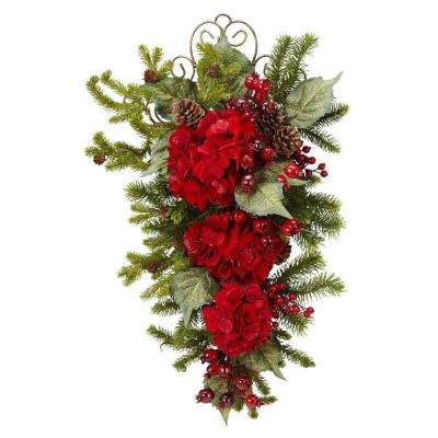 27 in. H Red Christmas Hydrangea Teardrop