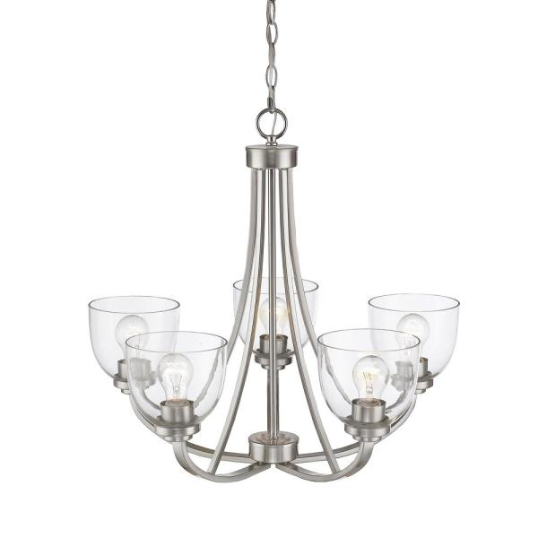 Filament Design 5 Light Brushed Nickel Chandelier With Glass Shades Hd Te83538 The Home Depot