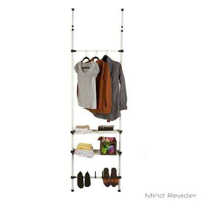 26.77 in. x 110.24 in. White Metal/Plastic Garment Rack with Shoe Rack
