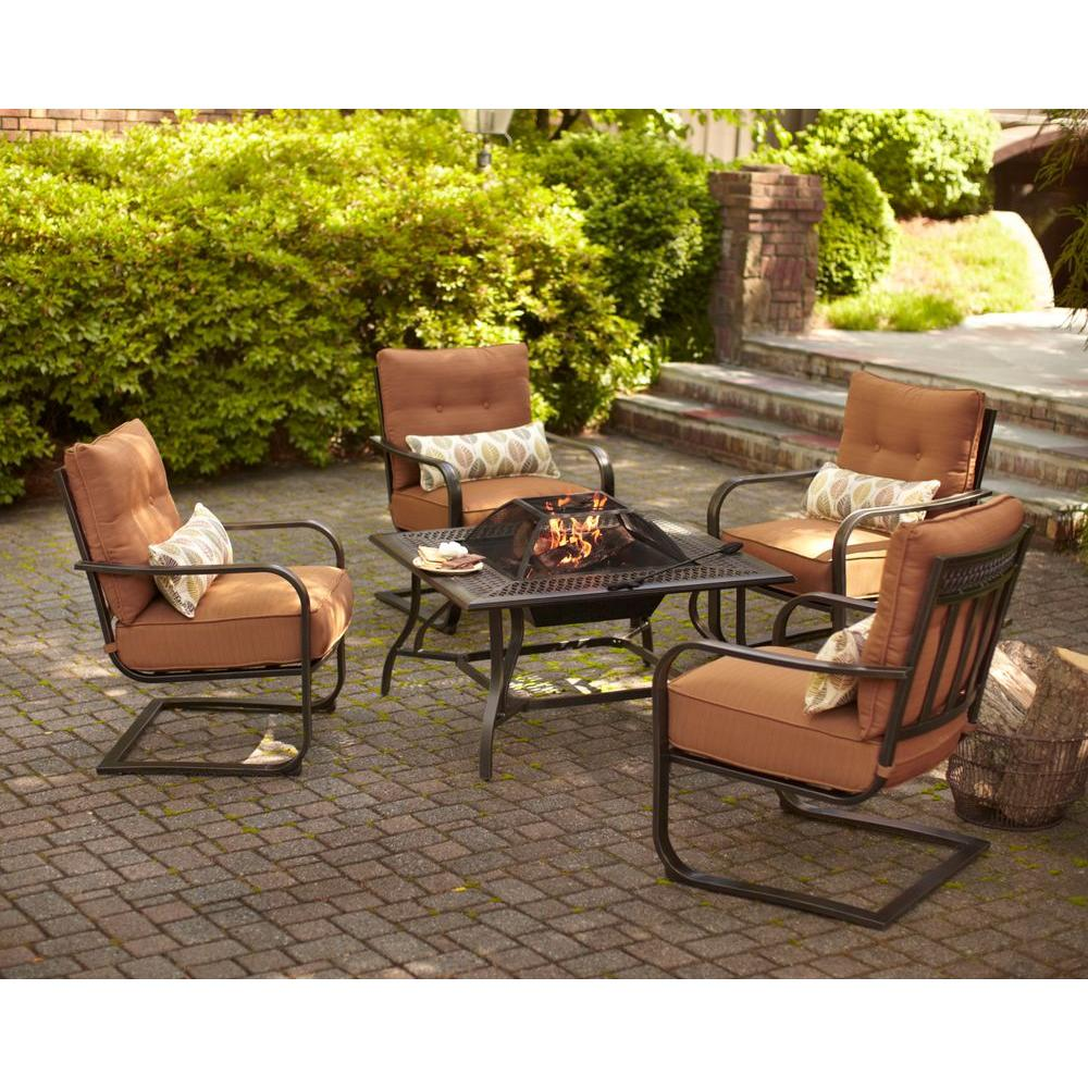 Hampton Bay Marywood 5-Piece Patio Fire Pit Chatting Set with Brown Cushions