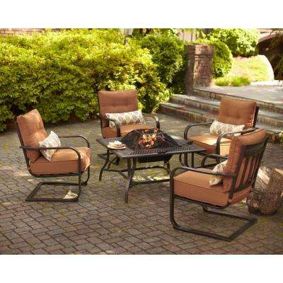 Marywood 5-Piece Patio Fire Pit Chatting Set with Brown Cushions