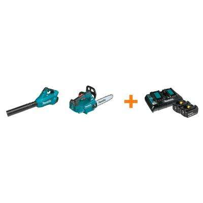 18V X2 LXT Blower and 18V X2 LXT 14 in. Top Handle Chain Saw with bonus 18V LXT Starter Pack