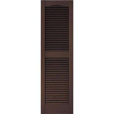 15 in. x 52 in. Louvered Vinyl Exterior Shutters Pair in #009 Federal Brown