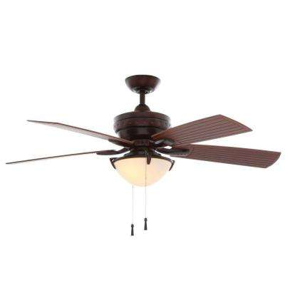 Four Winds 54 in. Indoor/Outdoor Weathered Bronze Ceiling Fan with Light Kit